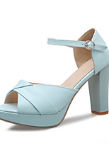 Women's Shoes Leatherette Chunky Heel Heels / Peep Toe Sandals Wedding / Office & Career / Dress / Party & Evening Blue / Pink / Beige