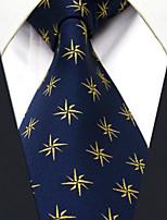 Men's Tie Navy Blue Geometrical  Fashion 100% Silk  Business