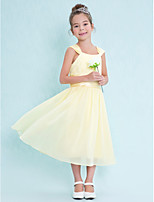 Tea-length Chiffon Junior Bridesmaid Dress-Daffodil A-line Square