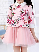 Girl's Pink / White Dress,Floral Polyester Summer / Spring