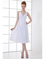 Lanting Knee-length Chiffon Bridesmaid Dress - Ivory A-line V-neck