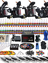 Solong Tattoo Complete Tattoo Kit 4 Pro Machine Guns 54 Inks Power Supply Foot Pedal Needles Grips Tips TKD02