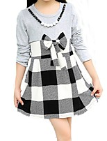 Girl's White / Gray Dress,Check Cotton Summer / Spring