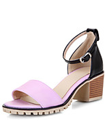 Women's Shoes Chunky Heel Heels / Peep Toe Sandals Casual Black / Pink / White / Beige