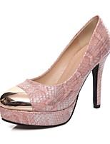 Zapatos de mujer-Tacón Stiletto-Tacones-Tacones-Boda / Oficina y Trabajo / Fiesta y Noche-Semicuero-Negro / Rosa / Blanco