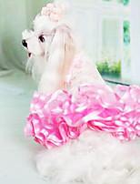 Cães Vestidos Branco / Verde / Rosa / Amarelo Verão Fashion