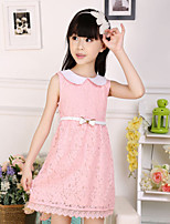 Girl's Pink / White Dress,Jacquard Cotton Summer