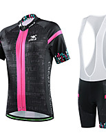 CHEJI Women Breathable Quick Dry Cycling Bib Short Sleeves Sets Polyester Top & 3D Padd Bib Short