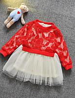 Vestido Chica de-Primavera / Otoño-Poliéster / Espándex-Rosa / Rojo