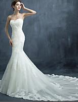 Trumpet/Mermaid Wedding Dress-Ivory Chapel Train Sweetheart Tulle