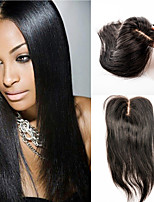 cheveux dentelle fermeture humaine fermeture de cheveux vierges droite 12inch partie médiane fermeture de cheveux
