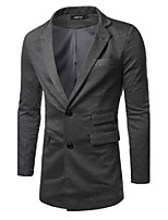 Suits Slim Fit Notch Single Breasted Two-buttons Cotton Blend Solid 1 Piece Gray / Coffee