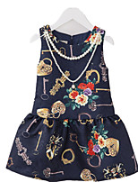 Girl's Multi-color Dress,Floral Polyester Summer