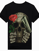 Men's Short Sleeve T-Shirt,Cotton Casual / Work / Formal / Sport Print 3D rose skull t-shirt t-shirt fashion clothes