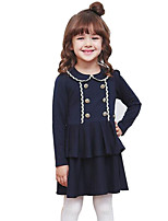 Girl's Blue / Pink Dress,Solid Cotton Spring / Fall