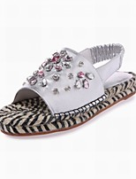 Women's Shoes Leather Flat Heel Slingback / Slippers Sandals Outdoor / Dress / Casual Silver / Gold