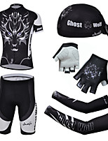 CHEJI Men's Short Sleeve Cycling Jersey Suit & Pirate Hat + Gloves + Sleeves