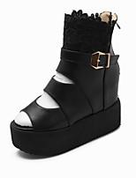 Zapatos de mujer-Tacón Cuña-Plataforma / Botines-Sandalias / Botas-Oficina y Trabajo / Vestido / Casual-Semicuero-Negro / Blanco