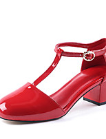 Women's Shoes Leather Chunky Heel Square Toe Sandals Office & Career / Dress / Casual Black / Red(Genuine leather)