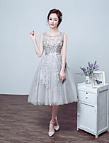 Cocktail Party Dress - Silver Ball Gown Jewel Tea-length Lace / Tulle