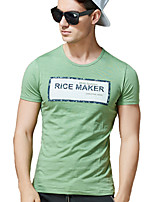 Men's Words Print Short Sleeve T-Shirt , Cotton / Spandex Casual / Work / Formal Round Neck Slim T-Shirt