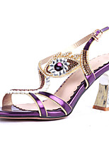 Women's Shoes Heel Heels / Peep Toe Sandals / Heels Party & Evening / Dress / Casual Purple / Silver / Gold