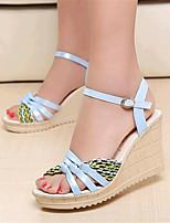 Calçados Femininos-Sandálias-Anabela-Anabela-Preto / Azul / Verde / Rosa / Branco-Courino-Ar-Livre / Casual