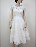 A-line Wedding Dress-White Knee-length Jewel Lace / Satin
