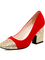 Women's Shoes Microfibre Chunky Heel Heels / Comfort / Square Toe / Closed Toe Heels Office Casual Black / Red
