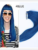 Tape In Human Hair Extension #blue color 20pcs Remy  Brazilian Virgin Straight Skin Weft Hair Extensions