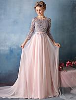 저녁 정장파티 드레스-펄 핑크 트럼펫/머메이드 채플 트레인 V-넥 레이스 / 새틴 쉬폰