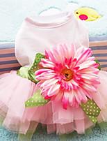 Hunde Kleider Rosa Sommer / Frühling/Herbst Schleife / Blumen / Pflanzen Modisch