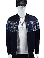 Men's Long Sleeve Jacket , Cotton Casual / Work / Formal / Sport Pure / Color Block