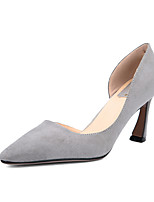 Women's Shoes Suede Chunky Heel Heels / Pointed Toe / Closed Toe Heels Dress Black / Gray