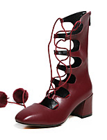 Damenschuhe-High Heels / Stiefel-Outddor / Party & Festivität-Leder / Wildleder / Nappa Leather-Blockabsatz-Bommel-Schwarz / Burgund