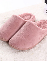 Women's Shoes Wool Flat Heel Slippers / Closed Toe Slippers Casual Brown / Pink / Beige