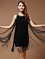 Performance Dresses Women's Performance Polyester Tassel(s) 1 Piece Black / Blue / Red / White And Silver