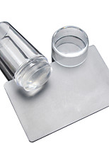 Manicure Transparent Cover Seal With 2 Piece Of Transparent Transparent Silicone Seal Handle Printing Head Head Scraper