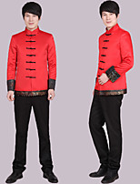 Suits Tailored Fit Mandarin Collar Single Breasted More-Button Polyester Patterns 1 Piece Red