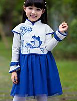 Vestido Chica de-Verano / Otoño-Poliéster-Azul