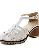 Women's Shoes  Chunky Heel Heels / Comfort / Round Toe Sandals / Heels Outdoor / Party & Evening White / Silver / Gold