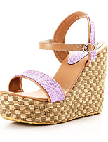 Women's Shoes Leatherette Wedge Heel Peep Toe Sandals Wedding / Outdoor / Party & Evening Purple / Gold