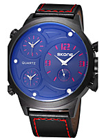 SKONE Big Dial 3 Time Zone  Quartz PU Leather Watches Men Fashion Casual Sports Quartz Wristwatch