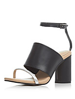 Women's Shoes Leather Chunky Heel Heels / Slingback Sandals Dress / Casual Black / White(Genuine leather)