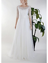 Sheath/Column Wedding Dress-White Floor-length Scoop Lace / Tulle