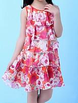 Robe Fille de Eté / Printemps Polyester Rouge / Blanc / Jaune