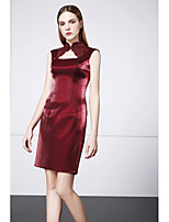 Cocktail Party Dress - Burgundy Sheath/Column High Neck Short/Mini Satin