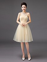 Knee-length Tulle Bridesmaid Dress-Ruby / Lilac / Pearl Pink / Champagne / Silver / Sky Blue A-line Strapless