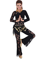 Belly Dance Outfits Women's Performance Mercerized Cotton / Lace Lace 3 Pieces Black / Fuchsia / Red / Yellow
