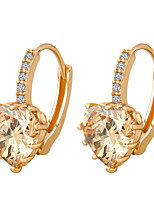 Fresh Peach Heart Crystal Luxury Earrings